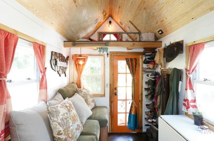 Tiny house living at its best with a view inside Alexis and Christians tiny house on wheels
