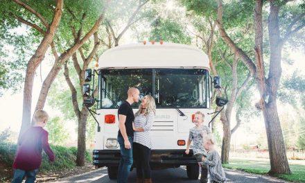 Man runs business while living in gorgeous custom school bus