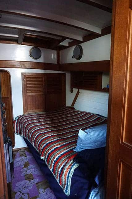 The bedroom on board our cruising yacht.