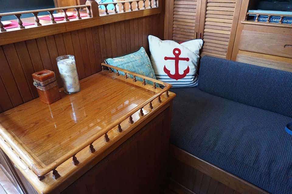 A comfortable place to read on our cruising yacht