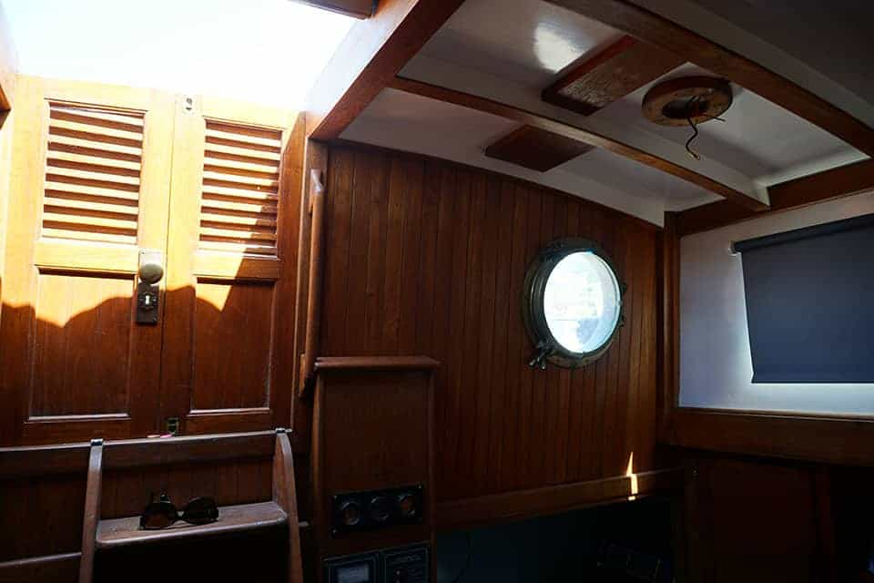 The view toward the companionway in our cruising yacht