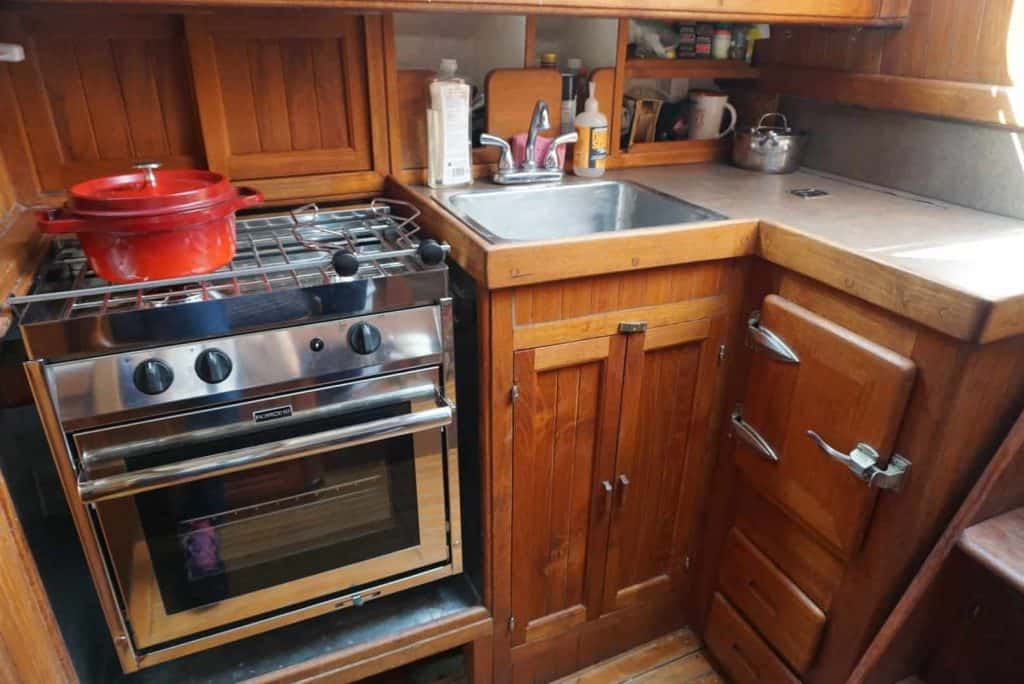 Here is our tiny kitchen on our liveaboard sailboat