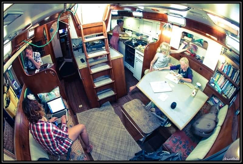 The family works and cooks inside their bluewater yacht Totem