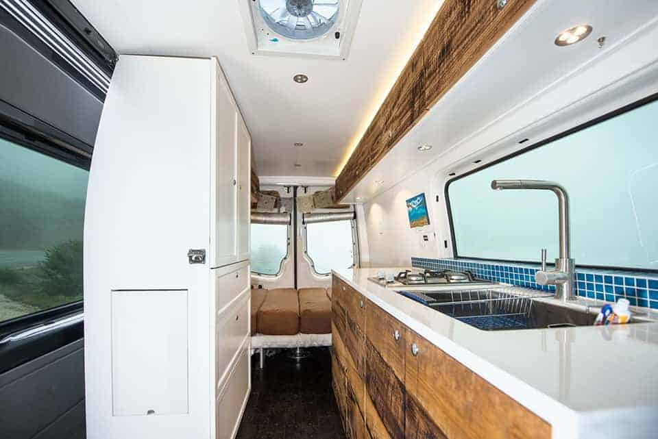 Interior Of A Built Out Sprinter Van Conversion This Camper Has Beautiful White