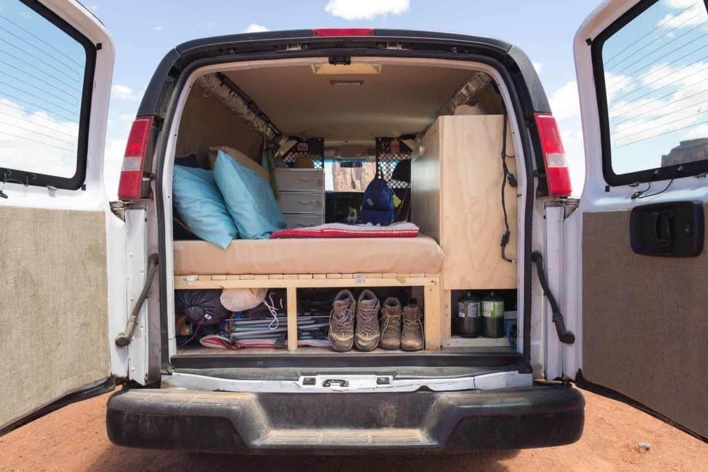 Everything Is Organized Perfectly In The Back Of This DIY Camper Van Conversion