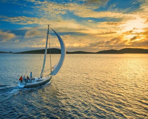 Beautiful sailboat sailing around the world