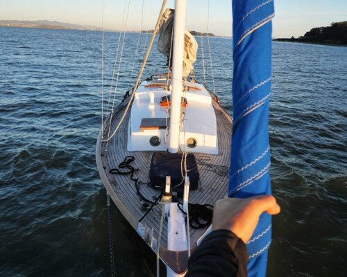 Looking down on our liveaboard sailboat, which is so comfortable thanks to our sailboat accessories!