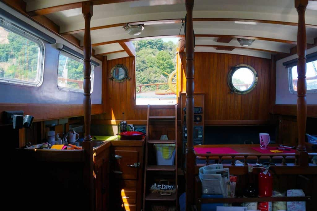 The interior of my sailboat is beautiful and is perfect for minimalist living