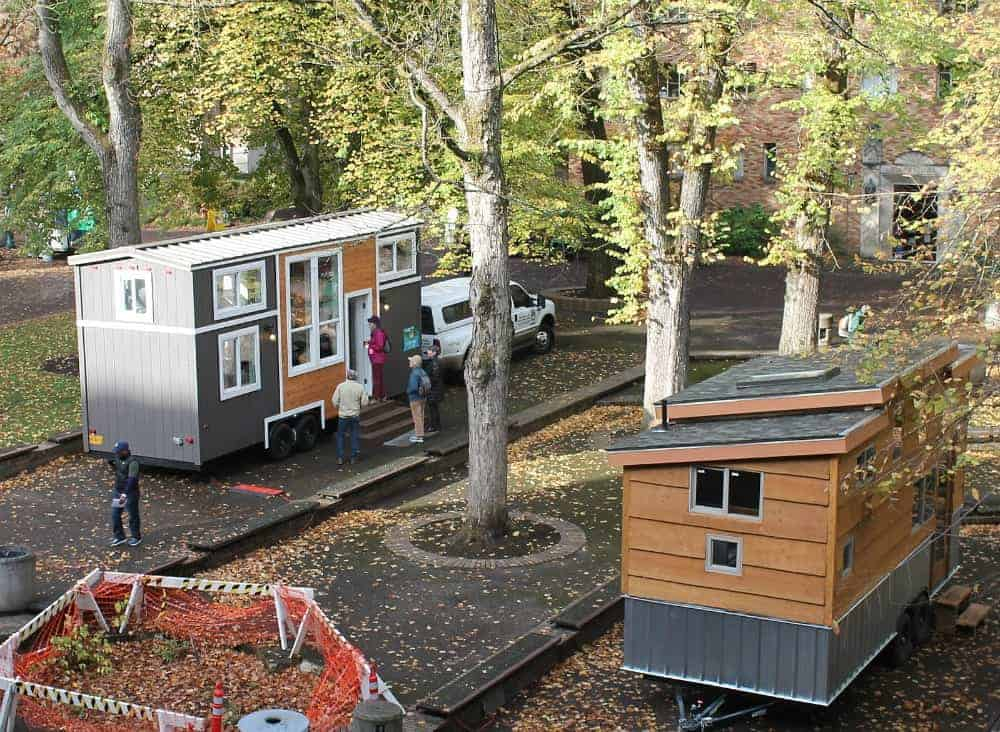 Tiny houses on display in Portland, Oregon. How to build a tiny house and where to park it