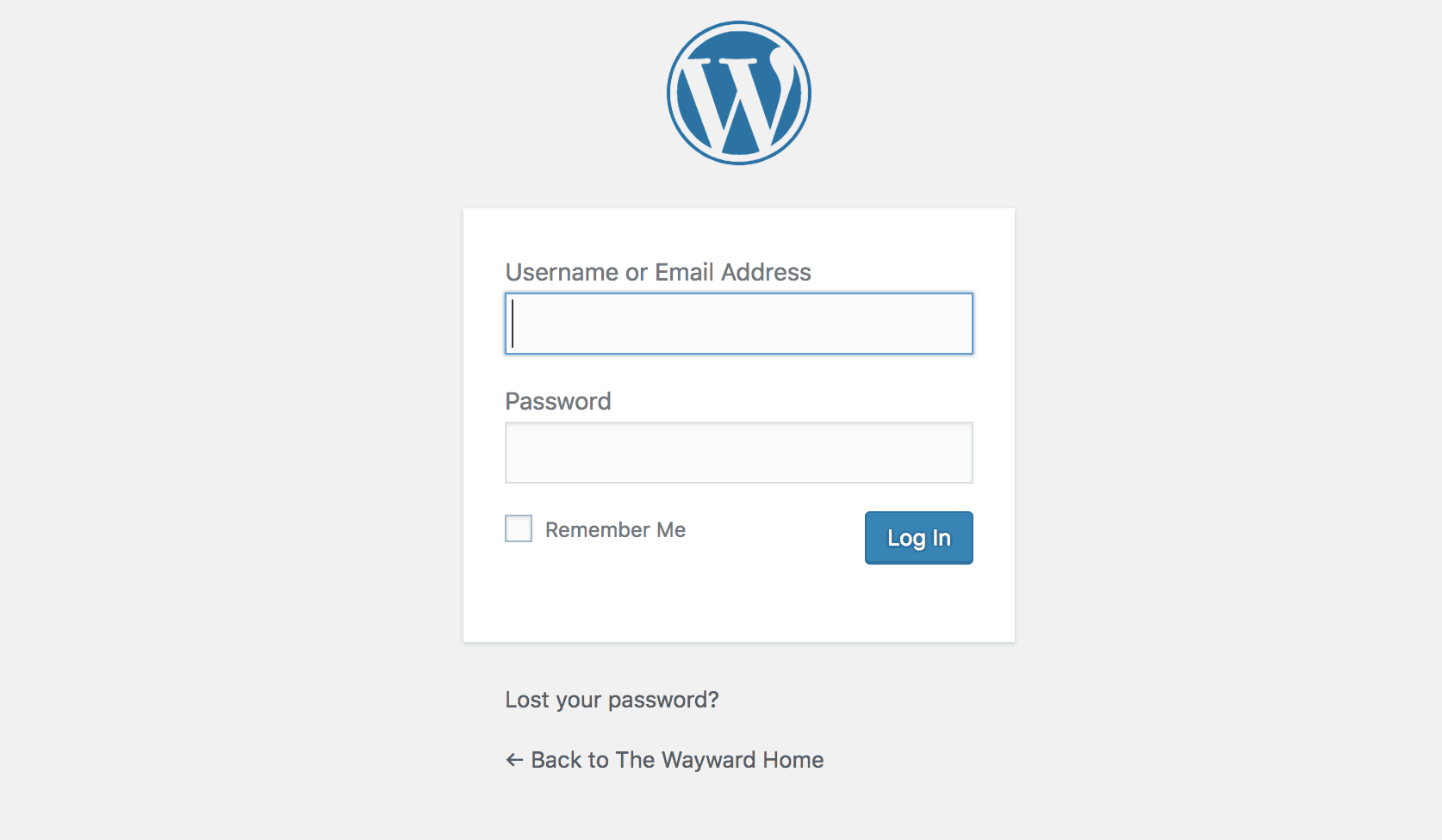 Wordpress blog log-in screen
