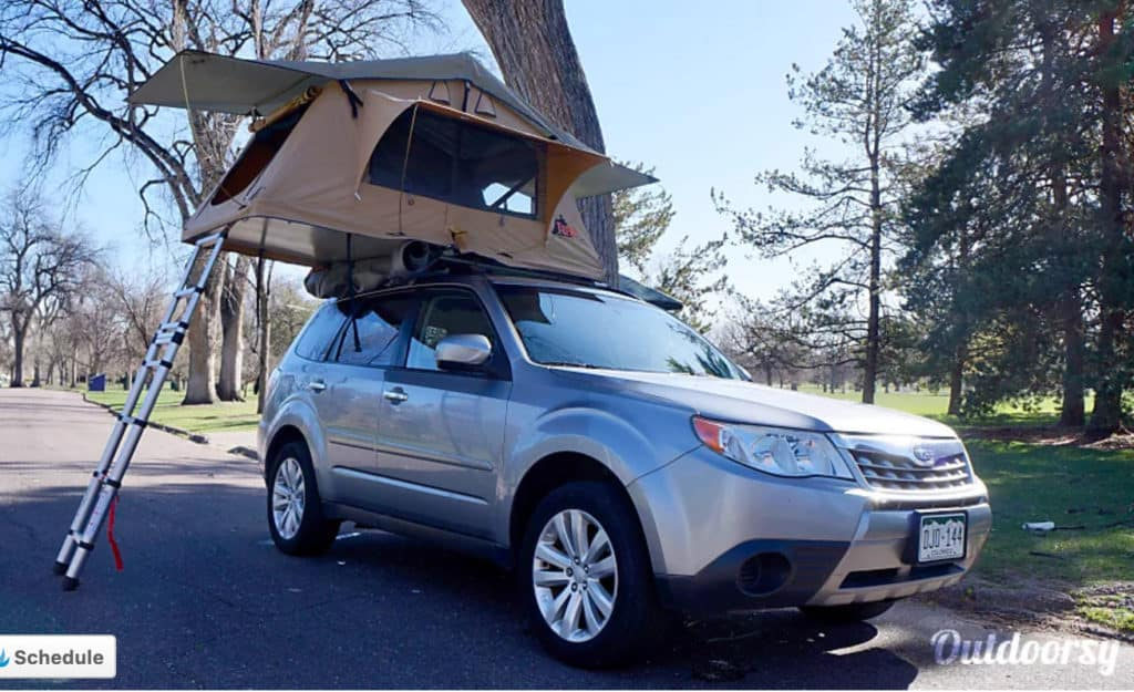 Subaru with a Tepui rooftop tent rental in Denver