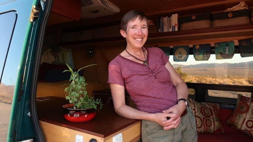 jodi inside her campervan