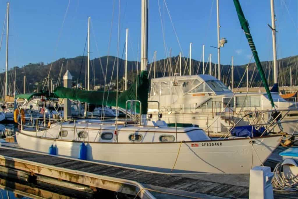 The couple picked a 35' Rafiki liveaboard sailboat, where they currently reside in Sausalito