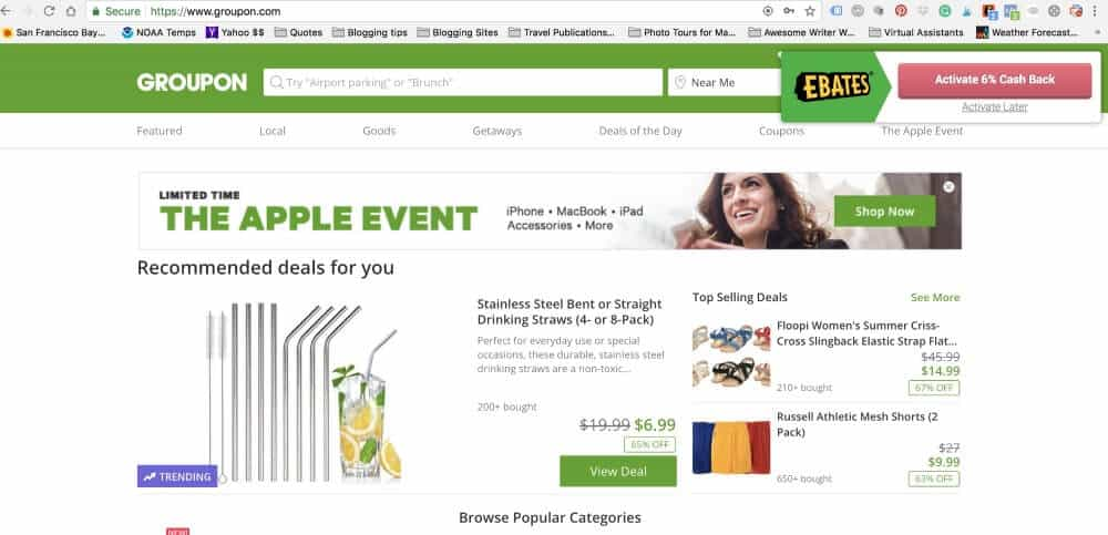 Screenshot of how Ebates offers me cashback when shopping on Groupon