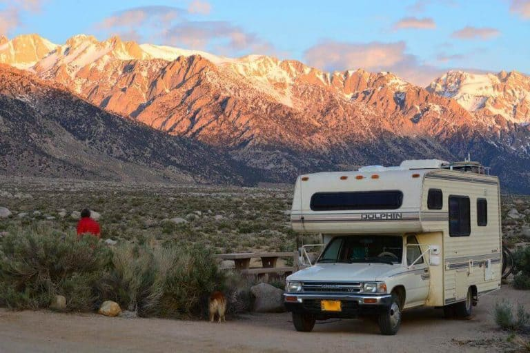 Toyota Dolphin parked in a beautiful RVing campsite