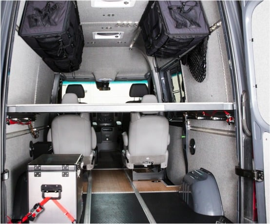 Interior of a Sprinter van conversion kit with a platform bed and upper storage shelves