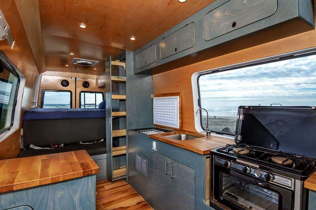 This is a super fancy campervan kitchen for a long wheelbase Sprinter van