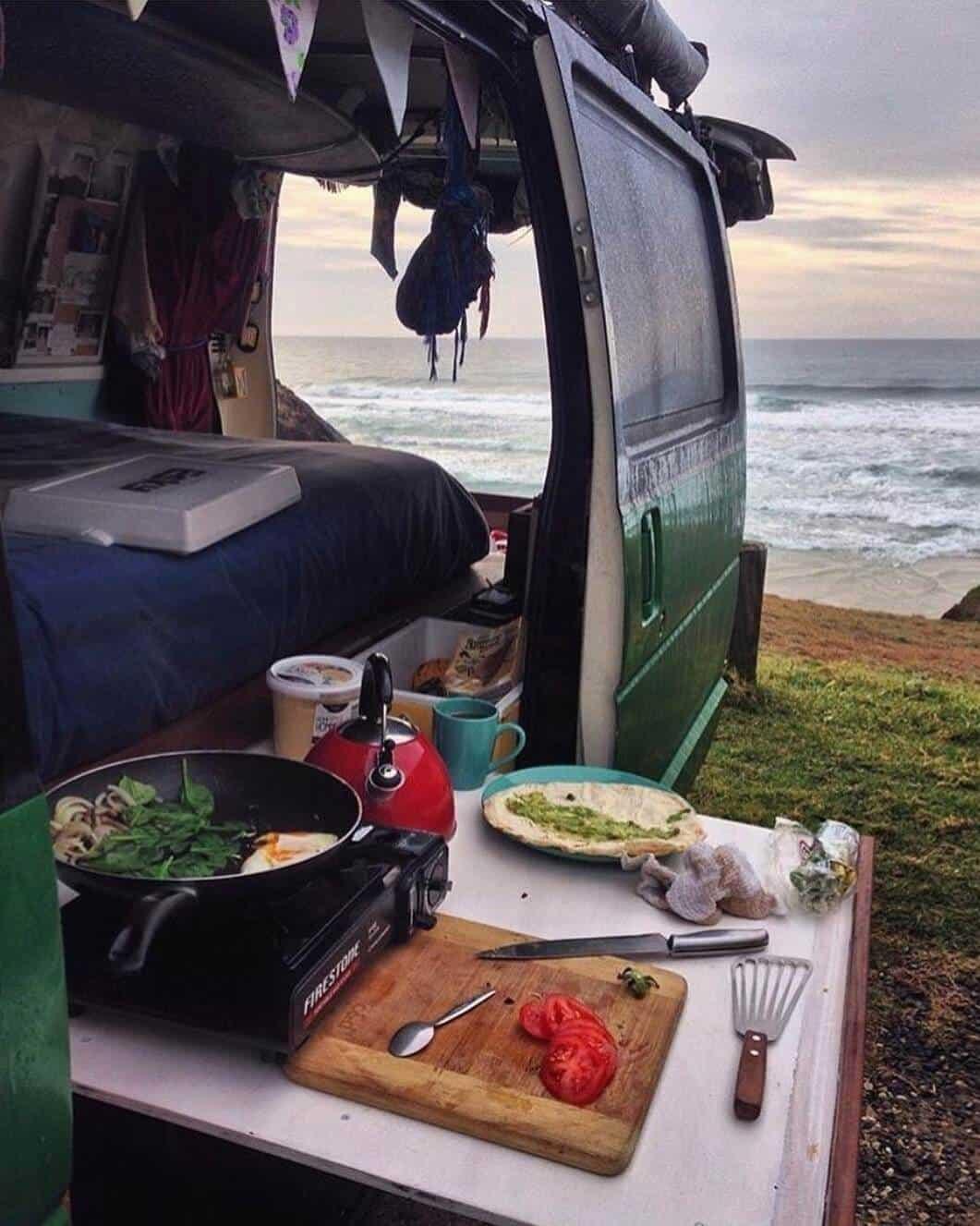 Side slide-out campervan kitchen