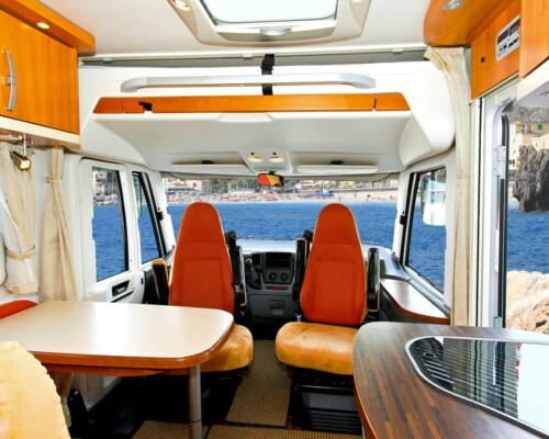 The inside of a super tidy RV that benefited from RV organization tips