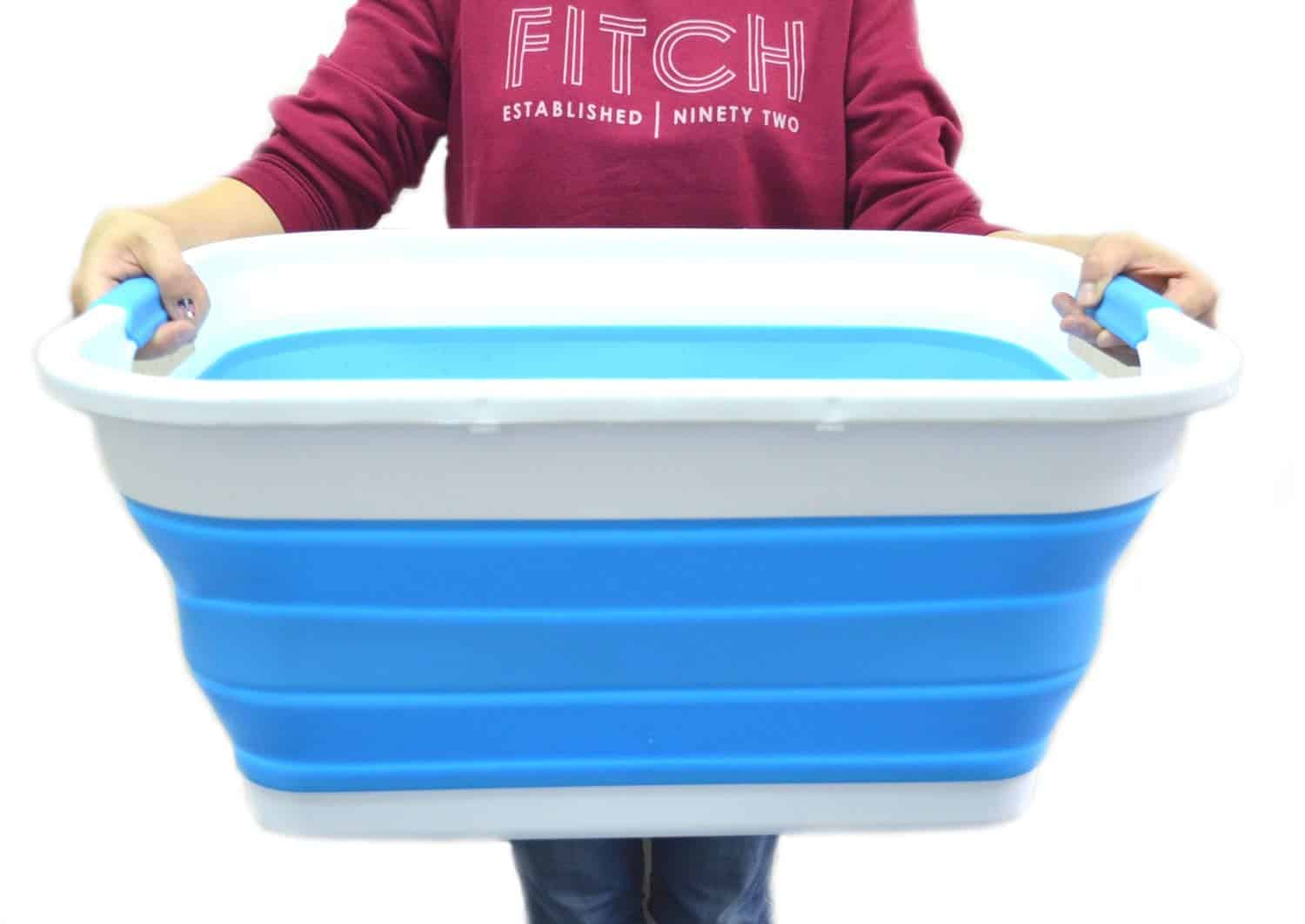 collapsible laundry basket for RV organization