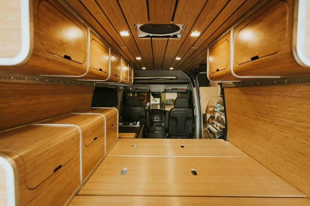 Beautiful wood interior of a Sprinter van conversion kit