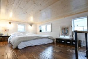 Bedroom view of the Urban Payette tiny home on wheels