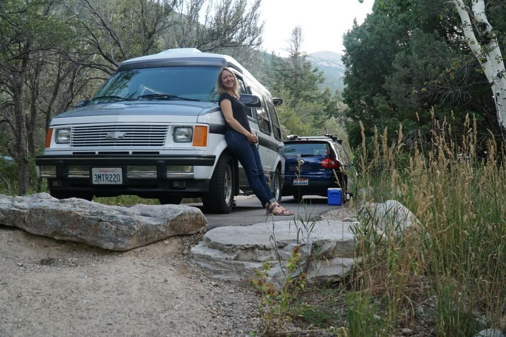 Me standing by my Chevy Astro conversion at Great Basin National Park