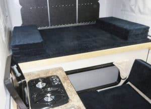The bed area of the Swift truck bed camper by Four Wheel Campers