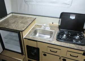 Kitchen area of the Swift Camper by Four Wheel Campers