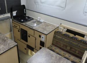 Kitchen area in side Four Wheel Camper's Fleet Camper