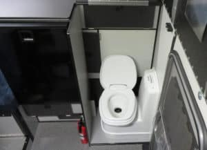 A toilet is included in the Grandby Truck camper by Four Wheel Campers