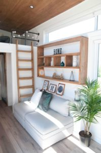 The Minimaliste Tiny Home for sale has a gorgeous living room