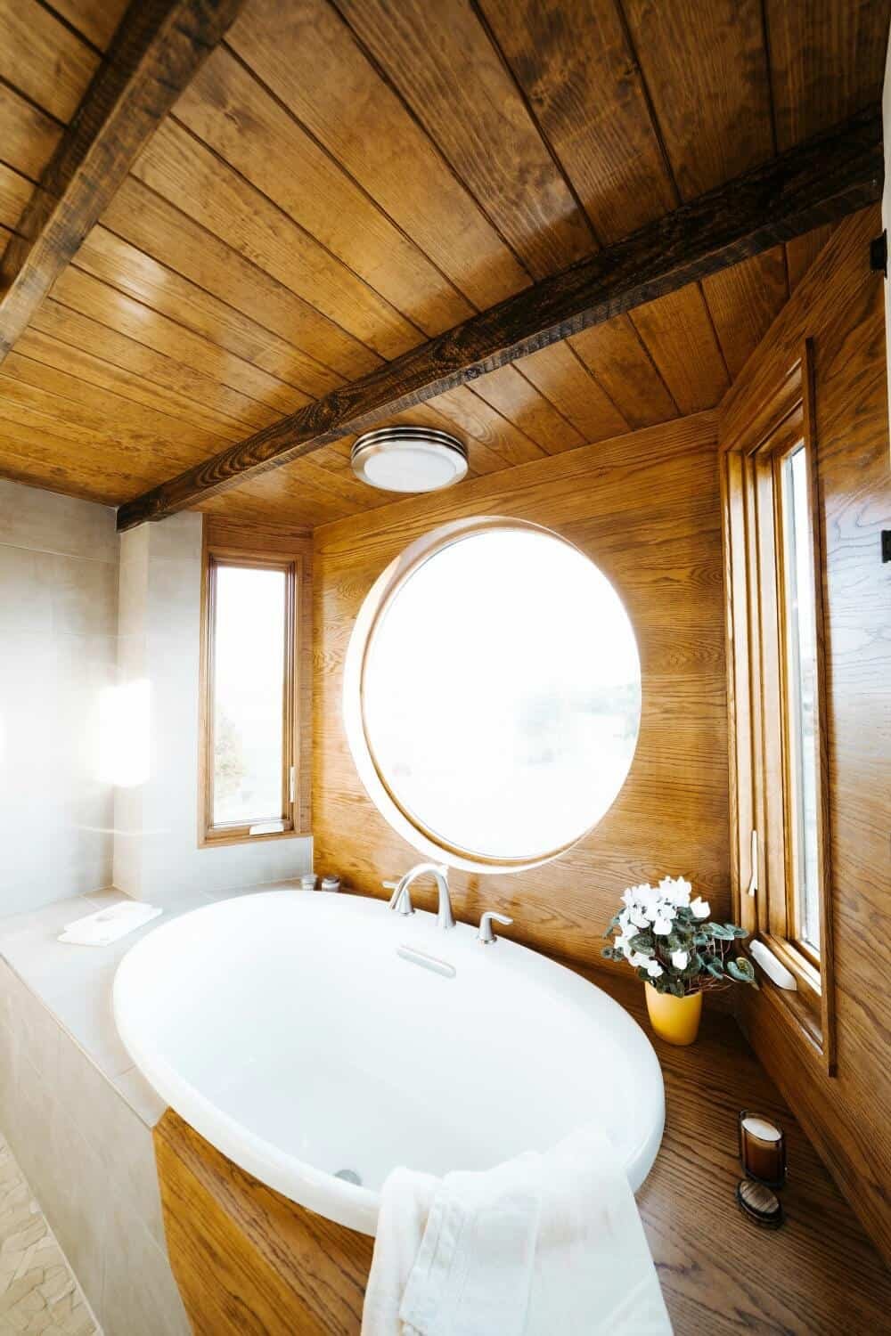 Bathroom area of the Monacle Tiny Home by Wind River