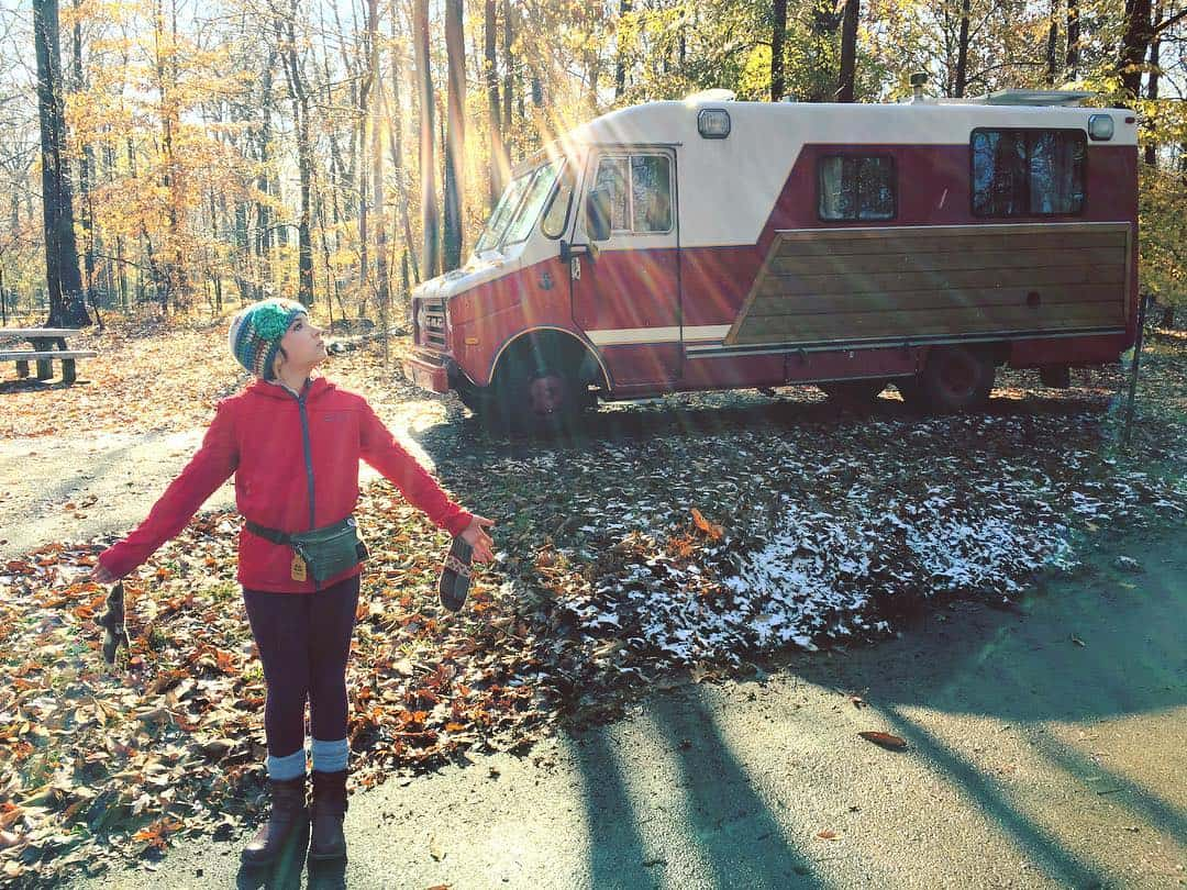 Mollie plays outside the converted stepvan