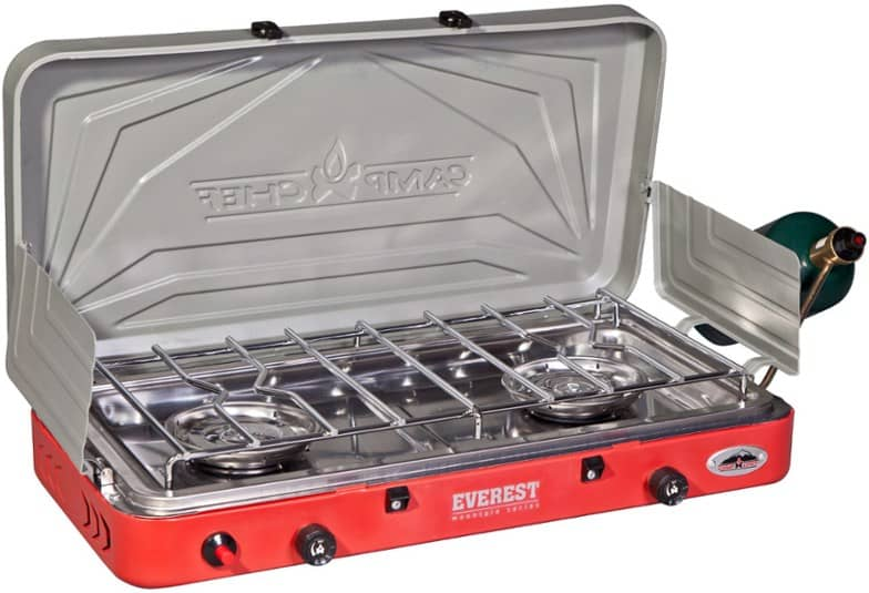Camp Chef Everest is our tip pick for the best two burner camping stove