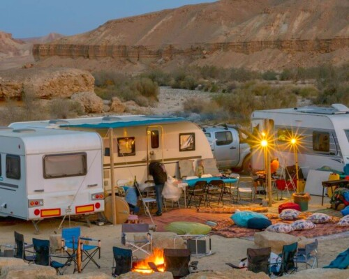 RVs in a circle in a campground