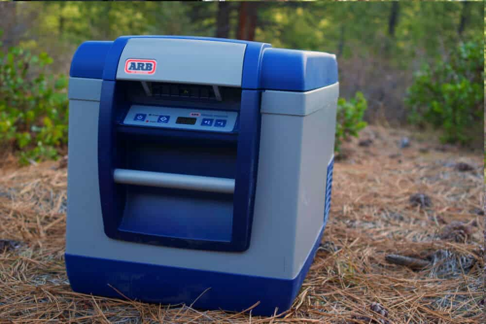 12 volt ARB fridge in the forest