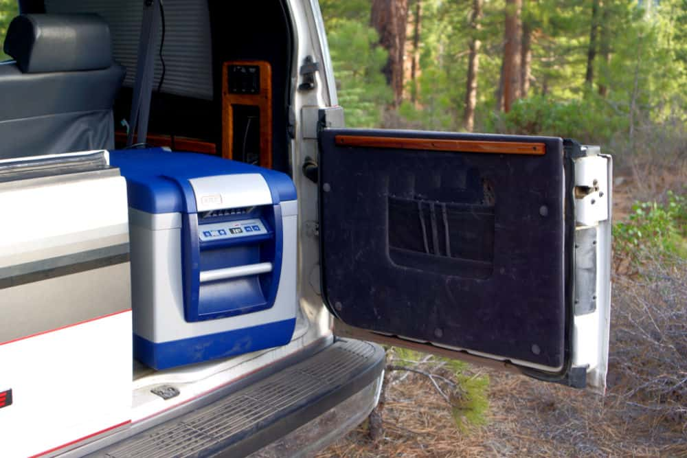 The ARB portable fridge easily fits in back of a small van or SUV