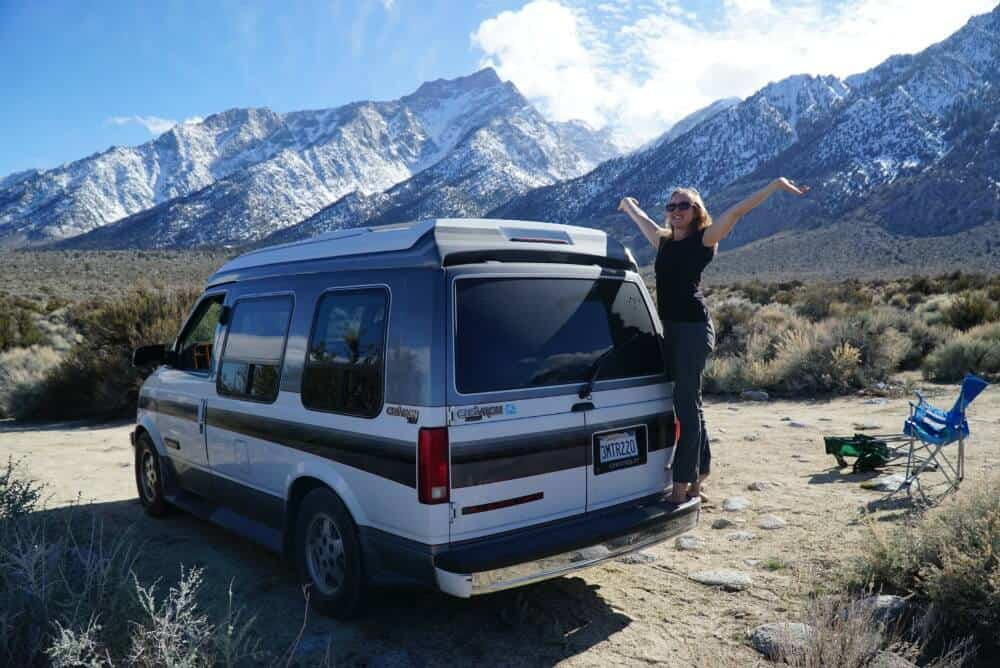 Boondocking in our campervan in the Alabama Hills