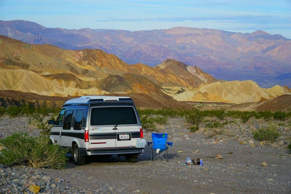 Boondocking campsite in Death Valley National Park