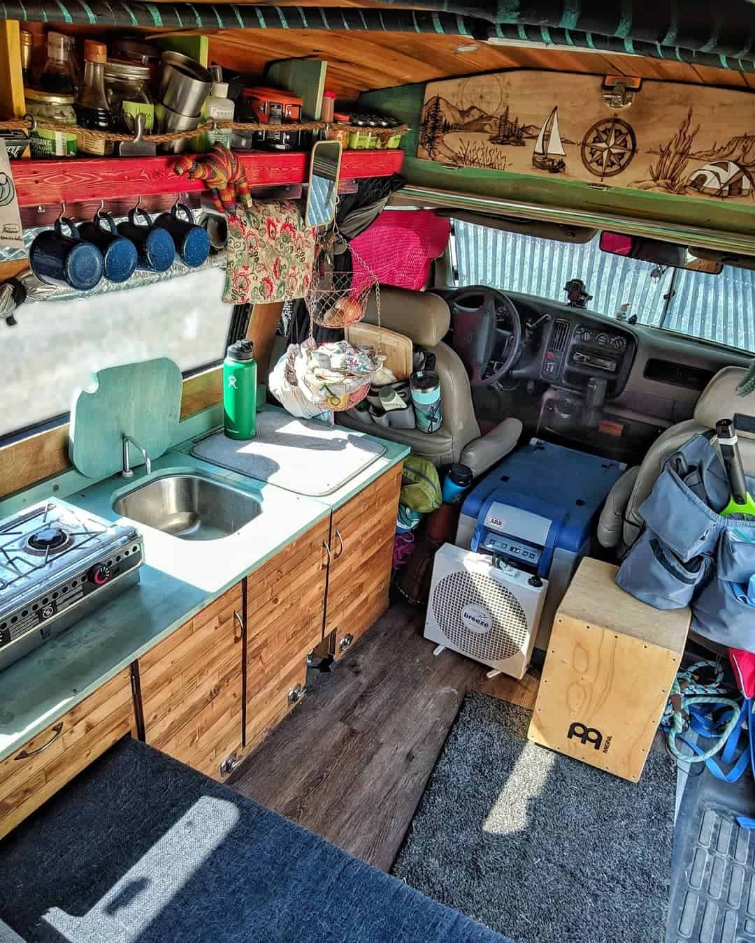The interior of Gnomad Home's conversion van for van life