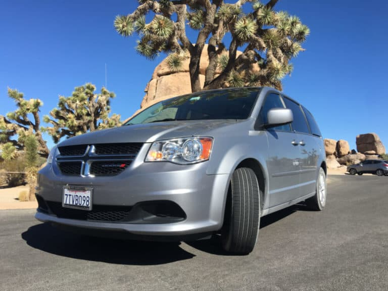 A dodge caravan Los Angeles campervan rental in Joshua Tree