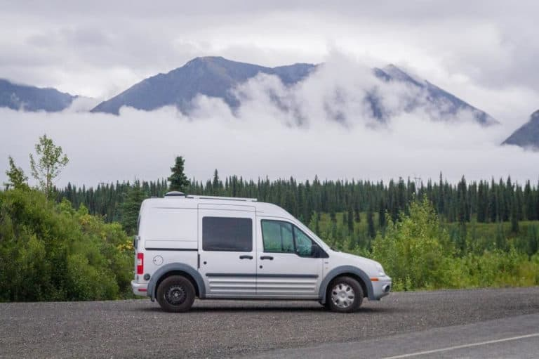 Ford Transit Connect Camper parked in the mountains