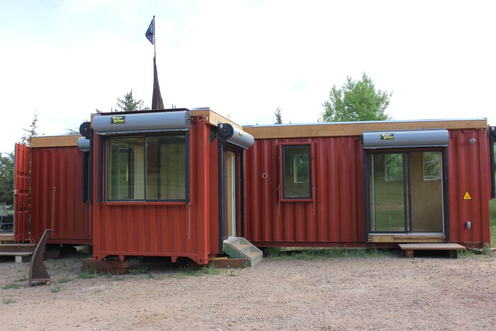 Bright red Rhino Cubed container home