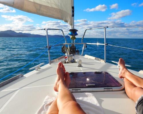 Small Sailboat cruising