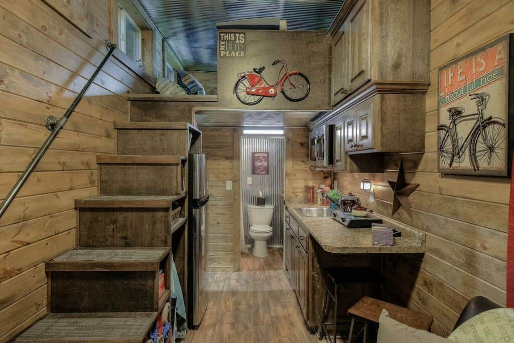Interior of the 20' weekender container home by custom container living
