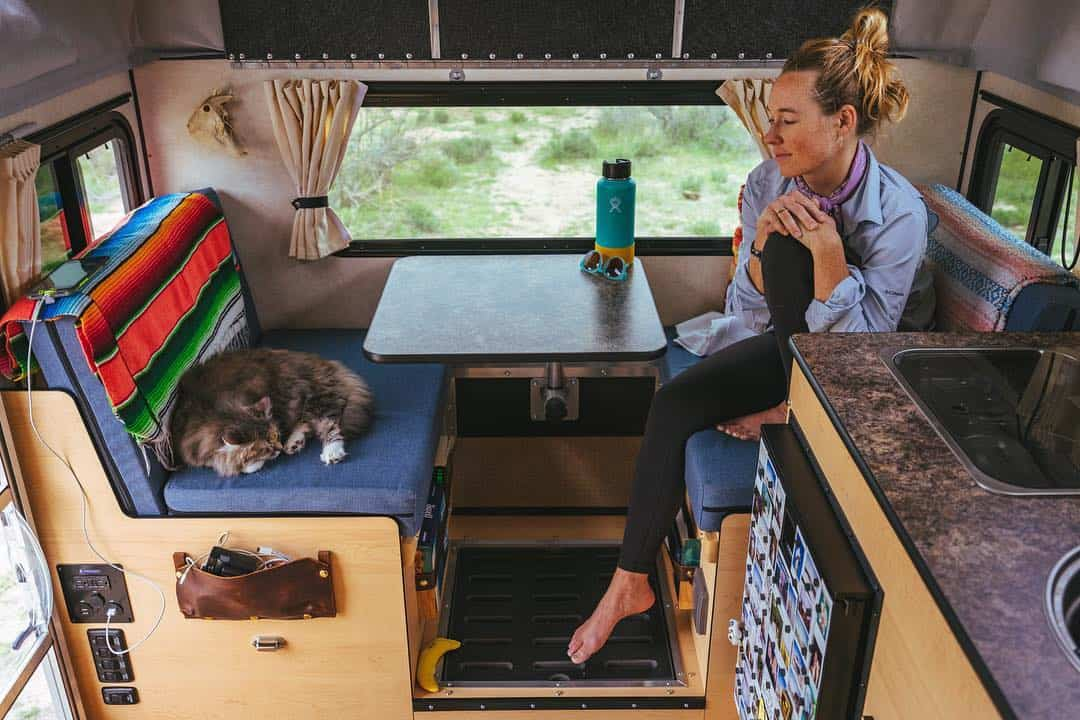 The interior of the new Four Wheel pop up truck camper