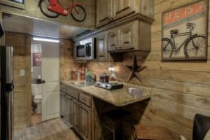 Kitchen shot of a cabin-like container home