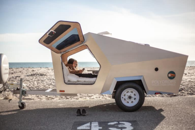 Polydrop's camper has a unique shape that looks like it's from outer space