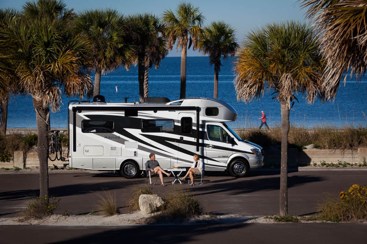 Winnebago Navion small motorhome parked near palm trees